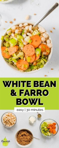 8 reviews · 30 minutes · Serves 1 · Clean out your fridge and pantry with this easy vegetarian white bean and farro bowl. It's packed with satisfying ingredients, subtle flavors, and just takes 30 minutes. If you want to cook more at… Bean Recipes, Quick Recipes, Side Dish Recipes, Dinner Recipes, Healthy Dessert Recipes, Vegetarian Recipes, Healthy Foods, Desserts, Quick Weeknight Meals