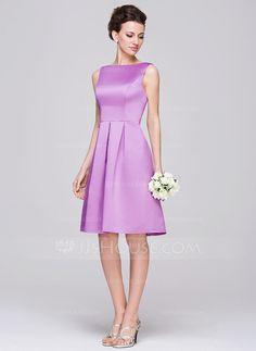 A-Line/Princess Scoop Neck Knee-Length Ruffle Zipper Up Regular Straps Sleeveless No Lilac Spring Summer Fall General Plus Satin Bridesmaid Dress