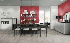 Combine melamine Whitewood, Aluminium, Black Havana Pine and Black to create your perfect dining room. Wooden Flooring, Vinyl Flooring, Laminate Flooring, Floors Direct, Braun Design, Floor Colors, Light Oak, Plank, Living Spaces