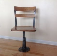 1920s School Chair, Heywood Eclipse, Refinished Industrial adjustable chair.