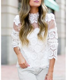 Be sexy and cool girl with this lace blouse. It features slightly sheer design, long sleeves and embroidery hollow design. Pair it up with cigarette trousers or mini skirt and you're all set . White Lace Blouse, White Blouses, Lace Outfit, Blouse Outfit, Sexy Blouse, Models, Spring Summer Fashion, Spring Outfits, Blouses For Women