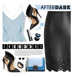 """""""After Dark: Party Outfits"""" by tamara-p ❤ liked on Polyvore featuring Christian Louboutin, River Island, Jimmy Choo, Lancôme, WALL, Giorgio Armani, McQ by Alexander McQueen, Topshop and afterdark"""