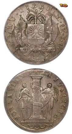 N♡T. Country:     Peru Series:     1822~1824 - Provisional and Countermarked Coinage Catalog codes:     World Coins km136 Variants:     Click to see variants Issued on:     1822 Last issue date:     1823 Distribution:     Standard Circulation Mints:     Casa Nacional de Moneda, Lima, Peru Composition:     Silver Shape:     Circular Weight:     25 grams Diameter:     38 mm Face value:     8 Peruvian real Composition Details:     Silver 0.903
