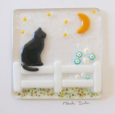 Fused Glass Wall Art Framed Picture  Black Cat