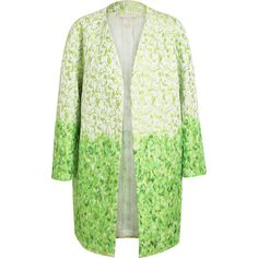 GIAMBATTISTA VALLI Dip-dye Textured Silk Coat (£2,395) ❤ liked on Polyvore featuring outerwear, coats, jackets, coats & jackets, embroidered coat, silk coat, long sleeve coat, floral coat and green coat