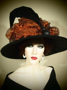 Couture Witch Hat The Widdow by EvercrumblyAndWitch on Etsy