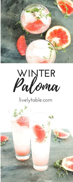 A bright and refreshing twist on the classic Mexican cocktail, the Winter Paloma combines tequila, fresh grapefruit, honey and thyme for a delicious winter drink! #cocktails #grapefruit #winter #tequila | via livelytable.com