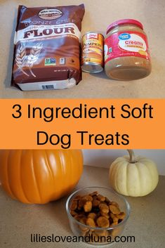 Easy to make 3 ingredient dog treats. These peanut butter and pumpkin dog treats are great for dog training. 3 Ingredient Dog Treats, Soft Dog Treats, Peanut Butter Dog Treats, Diy Dog Toys, Pumpkin Dog Treats, Canned Pumpkin, Dog Treat Recipes, 3 Ingredients, Lilies