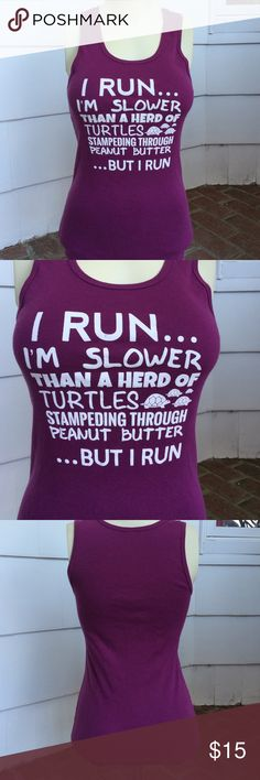 "Running Tee Purple running tee by Bella.  100% cotton. Size L, but fits like a form-fitted M.  Measures 24"" from shoulder to hips. Bella Tops Muscle Tees"