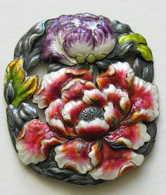 Japanese Enameled Peony Silver Buckle  This gorgeous and very hard to find Victorian/Edwardian era buckle features two large enamel peonies.