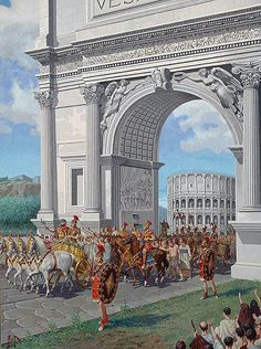 Triumphal procession through the Arch of Titus in the Roman Forum, commemorating the sack of Jerusalem. A Triumph through the streets of Rome was one of the highest honors accorded to a Roman general. Ancient Rome, Ancient Greece, Ancient History, European History, Ancient Aliens, American History, Gott Tattoos, Arch Of Titus, Punic Wars