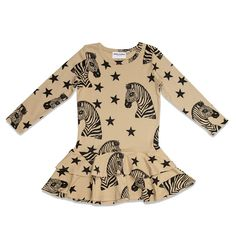 Dress Zebra Beige Mini Rodini.