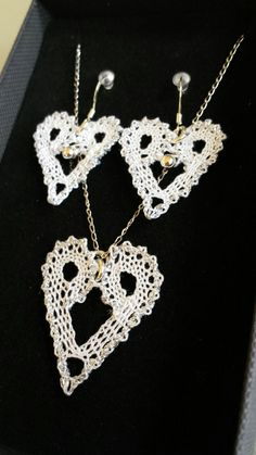 Heart bobbin lace jewellery by Clare Bill Lace