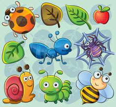 Buy Cute Bugs by on GraphicRiver. cartoon illustration of various cute bugs Bug Cartoon, Cartoon Drawings, Animal Drawings, Insect Clipart, Plant Vector, Cute Images, Graphic Design Art, Rock Art, Painted Rocks