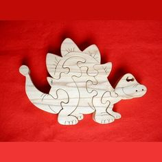 Happy Dinosaur - Childrens Wood Puzzle Game - New Toy - Hand-Made - Child-Safe Más Woodworking Table Saw, Cool Woodworking Projects, Woodworking Books, Woodworking Patterns, Woodworking Workshop, Wood Projects, Woodworking Supplies, Scroll Saw Patterns Free, Animal Puzzle