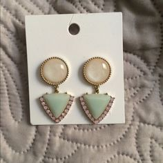 Subtle Yet Beautiful Pair of Earrings Post back earrings. The stones are a light pink, jade green, & ivory colored. Very Lightweight. Worn once. H&M Jewelry Earrings