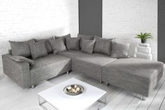 Design Ecksofa mit Hocker LOFT Strukturstoff grau Federkern Sofa OT rechts