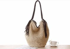 Crochet Straw Shoulder Bag Natural Paper Straw by fluteofthehour