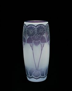 Vase with Floral Design by Bergqvist Knut, about 1915-1916 | Corning Museum of Glass #glass #Amethyst Glass #vase