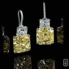 @legendaryjewelry on Instagram : Harry Winston Yellow Diamond Earrings