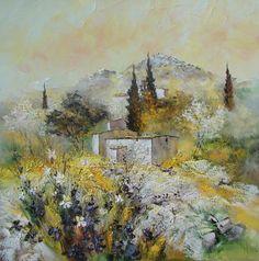 Peinture Huile sur Toile au couteau / Manuel RUBALO Landscape Art, Landscape Paintings, Thomas Kinkade, Magritte, Impressionist Art, Bob Ross, Provence, Drawing Tools, Illustrations