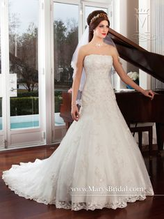 Beautiful dropped waist organza lace gown by Mary s Bridal style  6242  sample size 16 at. Wedding ... 748ba2a72d99