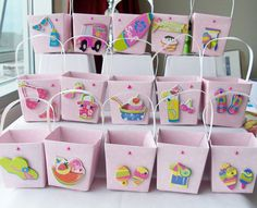 15 Pink girl themed birthday party favour boxes by SparkleandComfort on Etsy, $18.00