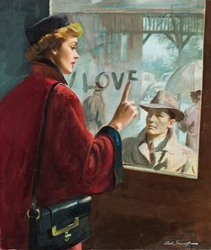 Where Love Begins, Collier's illustration 1951. Gouache on board 20 x 17 in. by Arthur Saron Sarnoff