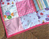 Pink patch cot, crib or pram blanket