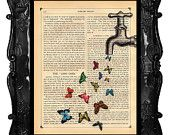 Items similar to OUR ORIGINAL DESIGN Faucet Butterflies Art Print Magical Faucet Vintage Antique Book Page butterfly dictionary art print on Etsy