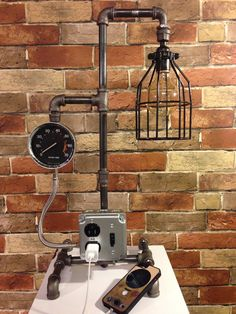 Gas mask creative lamp retro touch by atrefactumfrompast for Gas pipe desk lamp