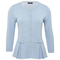 M&Co Bow Peplum Cardigan ($26) ❤ liked on Polyvore featuring tops, cardigans, shirts, light blue, lightweight cardigan, blue cardigan, light blue button down shirt, 3/4 sleeve shirts and blue button down shirt