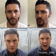 Goodbye hiatus beard. Hello Dean Winchester! #supernatural #supernaturalfandom…