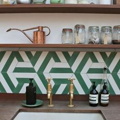 28 Green Kitchen Backsplash With Modern Style Green Kitchen Interior, Updated Kitchen, Kitchen Updates, Kitchen Colors, Kitchen Backsplash, Modern, Furniture, Home Decor, Farmhouse