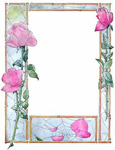 free to print - frame with pink flowers Vintage Labels, Vintage Cards, Vintage Postcards, Flower Frame, Flower Art, Illustration Blume, Button Cards, Borders And Frames, Frame Clipart