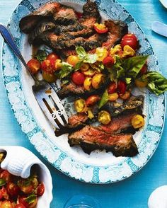 Flank steak with tomatoes and basil
