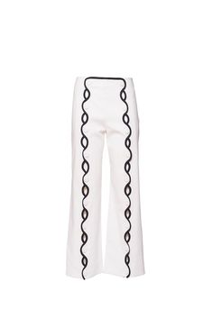 White trousers, black wave detail Button down front with peek-a-boo openings Buttons can be opened for front flare Side zip closure Made in italy White Trousers, Peek A Boos, Waves, Sweatpants, Zip, Cotton, Black, Fashion, Moda