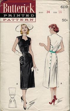 Butterick 6119; ca. 1952; Slim Casual With Back Button Closing: This wonderful slim casual will...