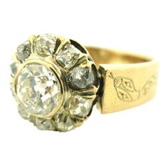 1stdibs | Unusual Victorian Snake Motif Diamond Cluster Ring
