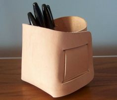 Folded Leather Bin