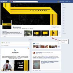 https://www.facebook.com/livestrong  Simple look.  Blog is linked using Tabfusion app. (It's free)