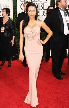 Naya Rivera 2011 Golden Globes #celebrities #celebrityfashion #redcarpet