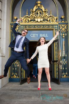 They did it! | Venue: San Francisco's City Hall | Wedding Dress by @dvf | Elopement Photography
