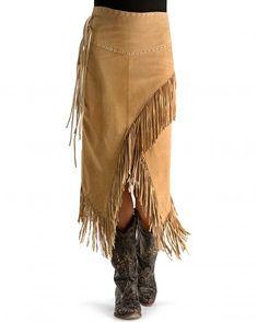 Scully Long Suede Fringe Skirt L-659