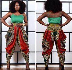 Loving this Dashiki harem pants by Rahyma Sleek~African fashion, Ankara… African Dresses For Women, African Print Dresses, African Attire, African Wear, African Fashion Dresses, African Women, African Prints, Ankara Fashion, African Style