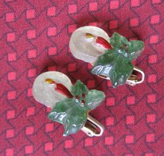 Lucite Christmas Candle Earrings Clip On Red by resurrections, $15.97
