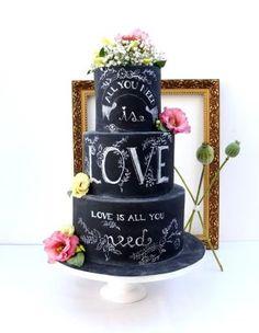 Chalkboard wedding cake.