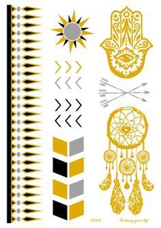 7fecab230 VT312 21X15cm Large Glitter Tattoos Golden tatuajes temporales Stickers  Indian Vintage Metallic Flash tatouage temporary tatuaje
