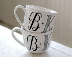 Hand lettered mugs, $40 for 2