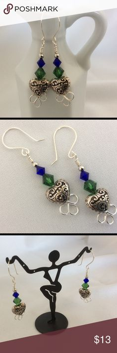 """Heart Charm Dangle Earrings These lovely heart and crystal earrings are 2"""" long. They are made using silver wire, Swarovski Crystals, and a metal heart charm. The ear wires are handmade as are all of my designs. Becky Barnes Designs Jewelry Earrings"""